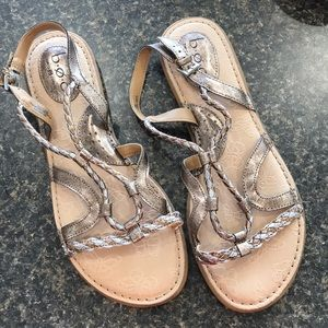 b.o.c. Sz10 metallic braided sandals